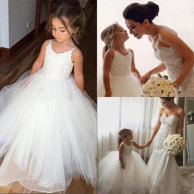 Lovely White Flower Girl Dresses | Spaghetti Straps Tulle Girl Party Dress_3