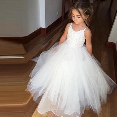 Lovely White Flower Girl Dresses | Spaghetti Straps Tulle Girl Party Dress_4