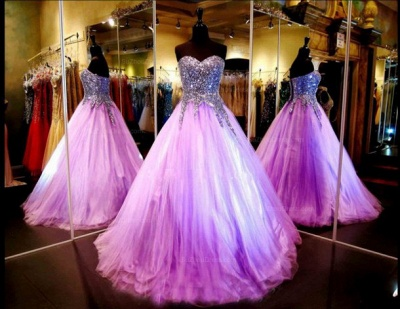 Crystals Beaded Luxury Quinceanera Dresses Sweet 16 Pageant Dresses Purple Prom Dresses_1