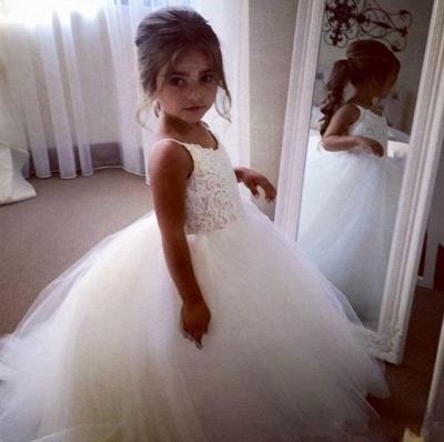 Lovely White Flower Girl Dresses | Spaghetti Straps Tulle Girl Party Dress_2