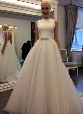 Simple Sleeveless A-Line Wedding Dresses | Chic Open Back Bridal Gowns with Bow_1