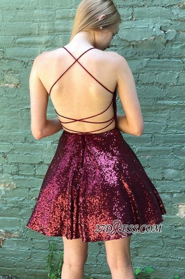 Spaghetti-straps A-line Short Sequin Cocktail Dresses_2