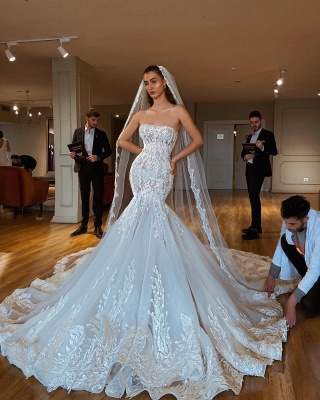 Exquisite Lace Mermaid Wedding Dresses   Strapless Appliques Long Bridal Gowns_2