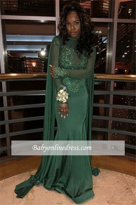Sexy Long Sleeves Mermaid Prom Dresses | Lace Green Appliques Evening Gowns_3
