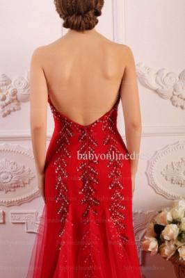 Wholesale 2021 Prom Dresses Sweetheart Tulle Applique Beadings Red Long Dress BO0645_4
