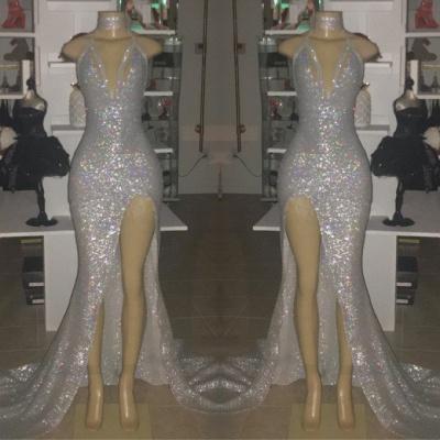 Shiny Silver Sequin Prom Dresses | Halter Neck Slit Party Dress_2