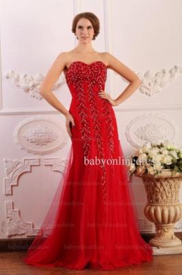 Wholesale 2021 Prom Dresses Sweetheart Tulle Applique Beadings Red Long Dress BO0645_5
