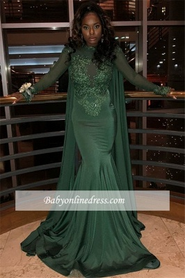 Sexy Long Sleeves Mermaid Prom Dresses | Lace Green Appliques Evening Gowns_5