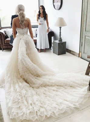 Elegant Tiered A-Line Wedding Dresses | Strapless Long Bridal Gowns_2