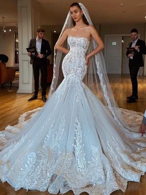 Exquisite Lace Mermaid Wedding Dresses   Strapless Appliques Long Bridal Gowns_1