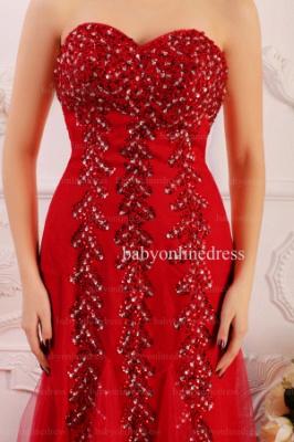 Wholesale 2021 Prom Dresses Sweetheart Tulle Applique Beadings Red Long Dress BO0645_2
