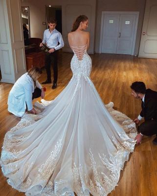 Exquisite Lace Mermaid Wedding Dresses   Strapless Appliques Long Bridal Gowns_3