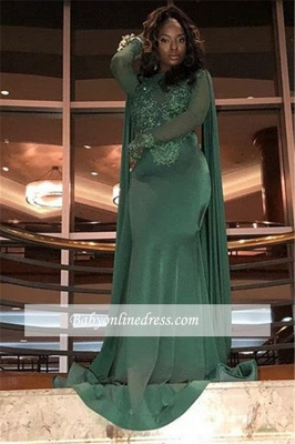 Sexy Long Sleeves Mermaid Prom Dresses | Lace Green Appliques Evening Gowns_2