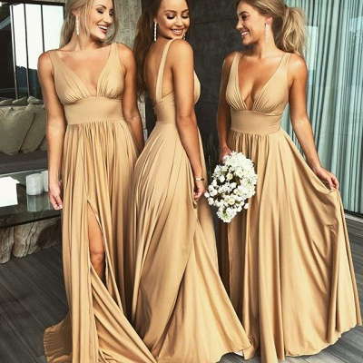 Simple Two Pieces Mermaid Bridesmaid Dresses | Halter Bows A-Line Maid Of The Honor Dresses_3