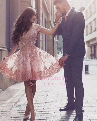 Glamorous Mini Appliques Tulle A-line Short-Sleeves Homecoming Dress_1