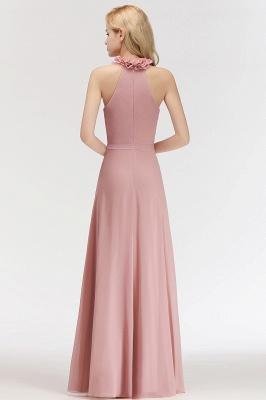 Elegant Chiffon A-Line Bridesmaid Dresses   Halter Ruched Long Formal Dresses_2