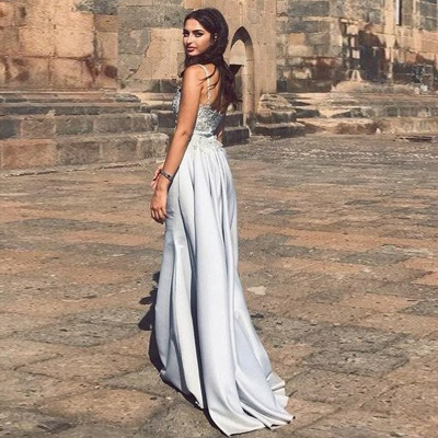 Geogrous Mermaid Evening Dresses | Spaghteei Straps Appliques Over Skirt Prom Dresses_3