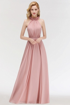 Elegant Chiffon A-Line Bridesmaid Dresses   Halter Ruched Long Formal Dresses_1