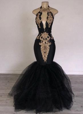 Chic Black Mermaid Prom Dresses | Halter Keyhole Neckline Gold Appliques Evening Gowns_1