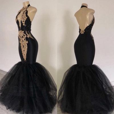 Chic Black Mermaid Prom Dresses | Halter Keyhole Neckline Gold Appliques Evening Gowns_3