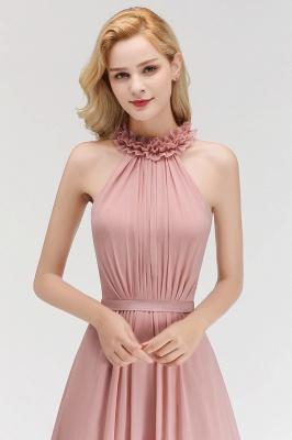 Elegant Chiffon A-Line Bridesmaid Dresses   Halter Ruched Long Formal Dresses_5