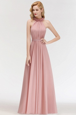 Elegant Chiffon A-Line Bridesmaid Dresses   Halter Ruched Long Formal Dresses_4