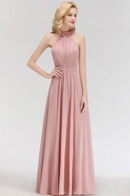 Elegant Chiffon A-Line Bridesmaid Dresses   Halter Ruched Long Formal Dresses_3