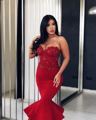 Sexy Red Mermaid Evening Dresses | Sweetheart Neck Beading Prom Dresses_3