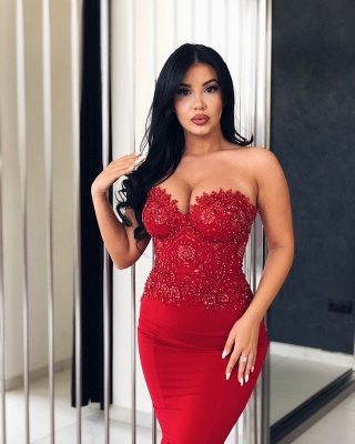 Sexy Red Mermaid Evening Dresses | Sweetheart Neck Beading Prom Dresses_2