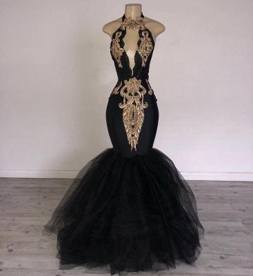 Chic Black Mermaid Prom Dresses | Halter Keyhole Neckline Gold Appliques Evening Gowns_2