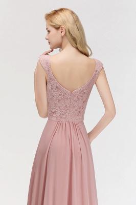 Elegant A-Line Chiffon Bridesmaid Dresses | V-Neck Cap Sleeves Lace Wedding Party Dresses_6
