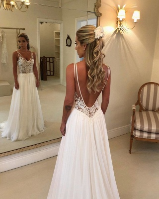 Elegant Lace A-Line Wedding Dresses | V-Neck Sleeveless Appliques Long Bridal Gowns_2