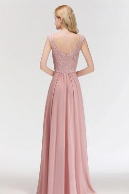 Elegant A-Line Chiffon Bridesmaid Dresses | V-Neck Cap Sleeves Lace Wedding Party Dresses_2