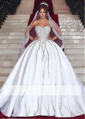 Brilliant Ball Gown Wedding Dresses Sweetheart Sleeveless Beading Bridal Gowns_1