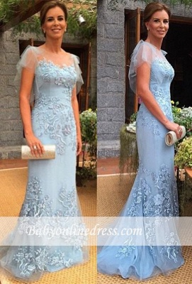 2021 Sweep-Train Cap-Sleeves Appliques Sheath Mother of the Bride Dress_1