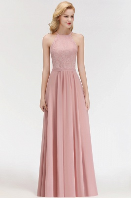 Elegant Halter A-Line Bridesmaid Dresses | Cheap Top Lace Bottom Chiffon Wedding Party Dresses_4