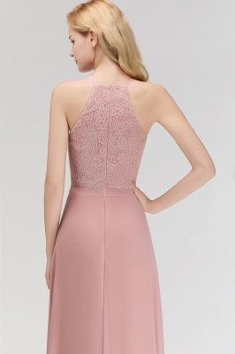 Elegant Halter A-Line Bridesmaid Dresses | Cheap Top Lace Bottom Chiffon Wedding Party Dresses_6