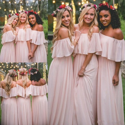 Off-the-Shoulder Chiffon Bridesmaid dress|Elegant Pink Wedding Guest Dresses_3