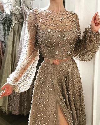 Luxury Crystals A-Line Prom Dresses | Bateau Puffy Long Sleevs Slit Evening Dresses_2