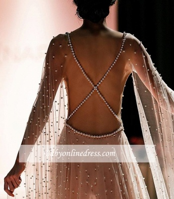 Backless Elegant Sheer-Tulle Beading A-Line Pink Prom Dress BC1826_4