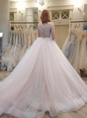 Luxury Tulle Ball Gown Wedding Dresses | Spaghetti Straps Crystals Bridal Gowns_2
