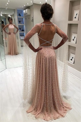 Backless Elegant Sheer-Tulle Beading A-Line Pink Prom Dress BC1826_5