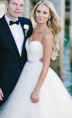 Gorgeous Floor Length Sweetheart Spaghetti Straps Tulle Beach Wedding Dresses_3