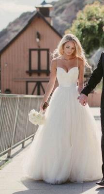 Gorgeous Floor Length Sweetheart Spaghetti Straps Tulle Beach Wedding Dresses_1