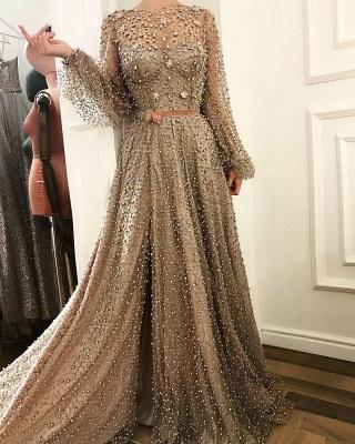 Luxury Crystals A-Line Prom Dresses | Bateau Puffy Long Sleevs Slit Evening Dresses_4