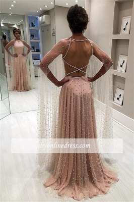 Backless Elegant Sheer-Tulle Beading A-Line Pink Prom Dress BC1826_1
