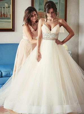 Luxury Tulle Ball Gown Wedding Dresses | Spaghetti Straps Crystals Bridal Gowns_1