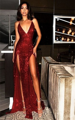 Sexy Burgundy Slits Party Dresses | Backless Sequin Long Evening Gowns_1