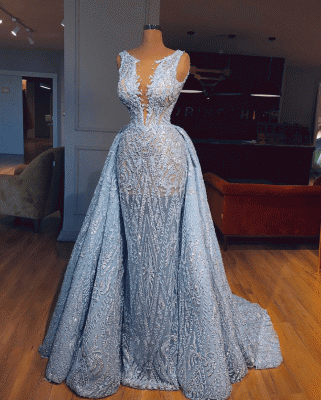 Luxury Lace Mermaid Prom Dresses With Over Skirt | Sheer Neck Sleeveless Long Evening Dresses_2