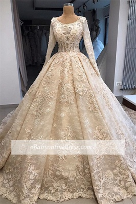 luxurious Scoop Long Sleeves Wedding Dresses | Lace Appliques Ball Gown Bridal Gowns_4